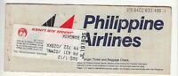 1988 PHILIPPINES AIRLINES PASSENGER TICKET AND BAGGAGE CHECK