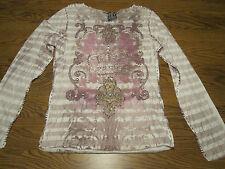 Spy Zone Exchange Long-Sleeve Shirt Purple Earth Cool Stitching Detail  NWT $99