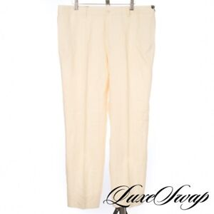 NWT Polo Ralph Lauren Made in Italy 100% Linen Cream Ivory Flat Front Pants 36