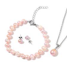 Freshwater Lilac Pearl Stainless Steel Bracelet (7.50-9.50 in), Earrings & Penda