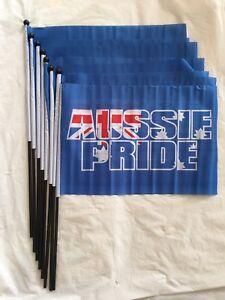 extra long 8Pcs Australian flag With Stick Aussie Australia Flags Australia Day