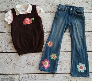 "GYMBOREE ""Growing Flowers"" Brown Turtle Sweater Vest, White Shirt, Jeans 7 EUC"