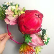 Esotico Tropical Pianta grassa Rosa Fiore Capelli Corona Head Band Choochie Choo Beach
