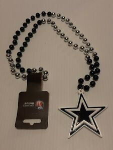 """NFL Dallas Cowboys Mardi Gras Beads With Medallion Necklace (36"""" of beads)"""