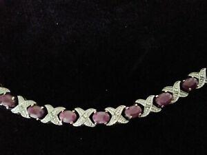 Vintage Sterling Silver Authentic Natural Ruby Tennis Bracelet GORGEOUS Reg $275