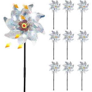 8 Leaves Bird Repeller Windmill Deterrent Silver Pinwheels for Outdoor Garden