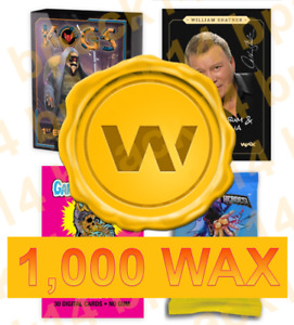 WAX Digital Blockchain Tokens Cryptocurrency Topps GPK Kogs - 1,000 WAX Total