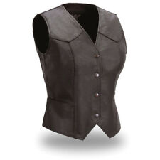 Ladies Fitted Leather Vest Size XL