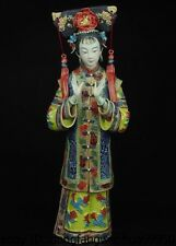 13 China Royal Pottery Wucai Porcelain Art Crafts Woman Ladies Decoration Statue