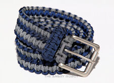 Paracord Belt - Navy Blue and Grey with Matte Nickle Buckle - S M L XL