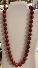 """VINTAGE CINNABAR CHINESE SILVER HAND CARVED 26"""" NECKLACE"""