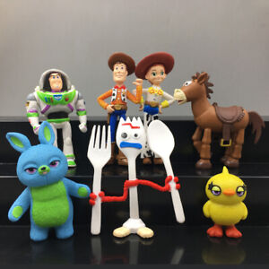 7Pcs Toy Story 4 Woody Lightyear Alien Forky Buzz Bunny Figure Doll Cake Topper