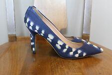 JCrew Elsie Fabric Pumps Womens 7.5 Heels Natural Indigo Blue $258 Italy B0977