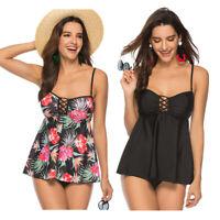 Plus Size Women Two Piece Tankini Sets Swimdress Swimsuit Tummy Control Swimwear