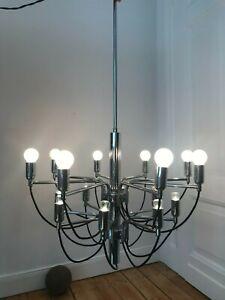 Vintage Chrom Deckenlampe im Stil von Gino Sarfatti 60er 70er Jahre