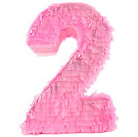 Number 1 Pink 1st Birthday Party Celebration Pinata with Tutu and Bow