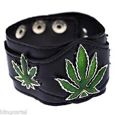 Marijuana Leaves Bracelet Three Pot Weed Leaf Cannabis Faux Leather Wide Cuff