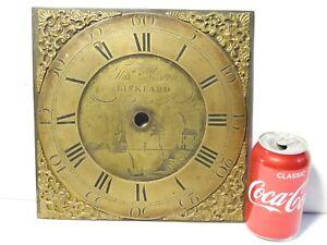 """18-19thC THOs AUSTEN - LISKEARD Brass Long Case Clock Dial 10"""" Square"""