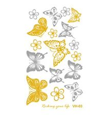 Metallic Gold & Silver Party Music Festival Temporary Butterfly Tattoo Accessory