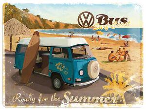 Volkswagen VW Camper Ready For Summer large embossed metal sign (na)