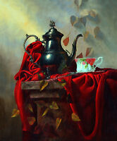 Hand painted Oil painting still life water pot and coffee cup red tablecloth