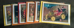 Pack of 6 assorted quirky Halloween party cards, vintage style, All Hallows Eve