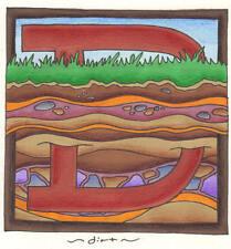 "phish alPHabet MAGNETS 2""x2"" letter D for dirt ( by KERRIGAN )"
