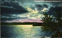 Vintage Postcard - Linen Unposted Moonlight On Lake Champlain Vermont VT#4802