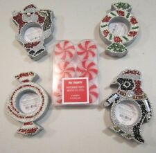Pier 1 Beaded Santa – Penguin – Wreath Set 4 Tealight Candle Holder w 6 Candles