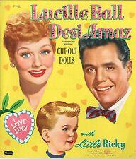 Vintage Uncut 1953 Lucille Desi Ricky Paper Dolls ~Whitman Org Sze~Laser Reprod
