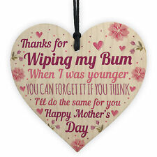 Novelty Mothers Day Gift From Daughter Son Funny Rude Wood Heart Mum Gifts
