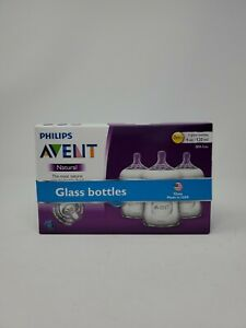 Avent Philips natural glass bottles 4oz 3 pack new