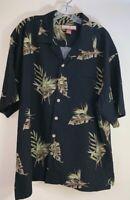 Paradise Blue Hawaiian Shirt Black w/ Brown Tan Palm Trees Mens Size XL