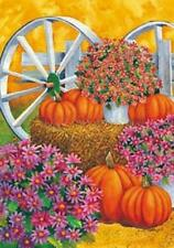 28'' x 40'' Pumpkin Wagon Wheel Fall Autumn Decorative House Flag Large Banner