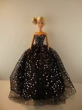 Black Ball Gown with Silver Sequined Dots & Black Fur Bo For Barbie