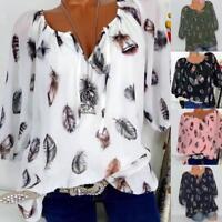 Damen T-Shirt Lange Ärmel Schulterfrei  Top Bluse Sommer Oberteil Plus Size