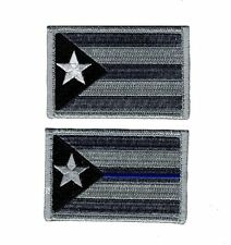 Puerto Rico State Flag blue Line Subdued Morale Hook Patch (2pc Bundle-Acu)