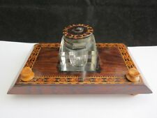 Antique Victorian Tunbridgeware Inkwell Pen Rest Inlaid With Flowers