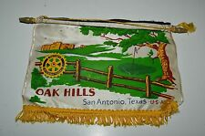 Vintage Oak Hills San Antonio Texas Rotary International Club Banner Flag RARE