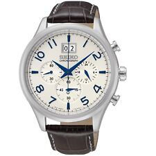 Seiko Men's Quartz Watch Chronograph Display and Leather Strap SPC155P1