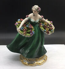 Cacciapuoti Woman Lady Carrying Flower Baskets Made in Italy Figurine Porcelain
