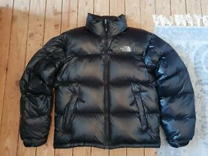 Rare The North Face Nuptse Shiny Black Down Puffer Jacket Coat Size S