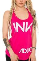 NEW InkAddict WOMENS INK Racerback Tank Top HOT PINK/WHITE SMALL-2XLARGE TATTOO