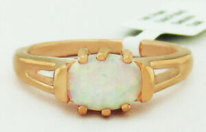 GENUINE 1.55 Cts OPAL RING 14K ROSE GOLD PLATED *** New With Tag *** SIZE 8.75