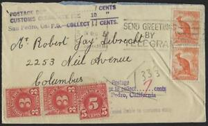 AUSTRALIA US 1930 COVER TO COLUMBUS SEVERAL POSTAGE DUE MARKINGS IN AUSTRALIA &