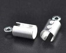 100 Embouts pour Collier/ Cordon Argenté 7.5x5.2mm