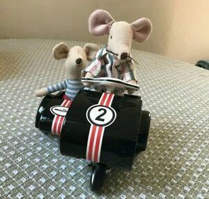 Maileg Scooter Racer With Sidecar In Original Box W/ Two Mice