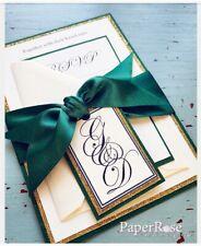 Emerald Green and Gold Glitter, Wedding Invitation,Evening Invitation,...