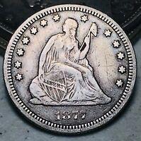 1877 CC Seated Liberty Quarter 25C High Grade Choice Good Silver US Coin CC6845