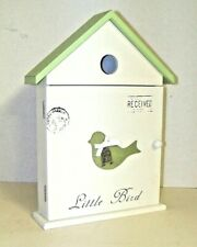 "Bird House Shaped Wooden Key Cabinet "" Botanical Gardens"" Wall or Table Mount"